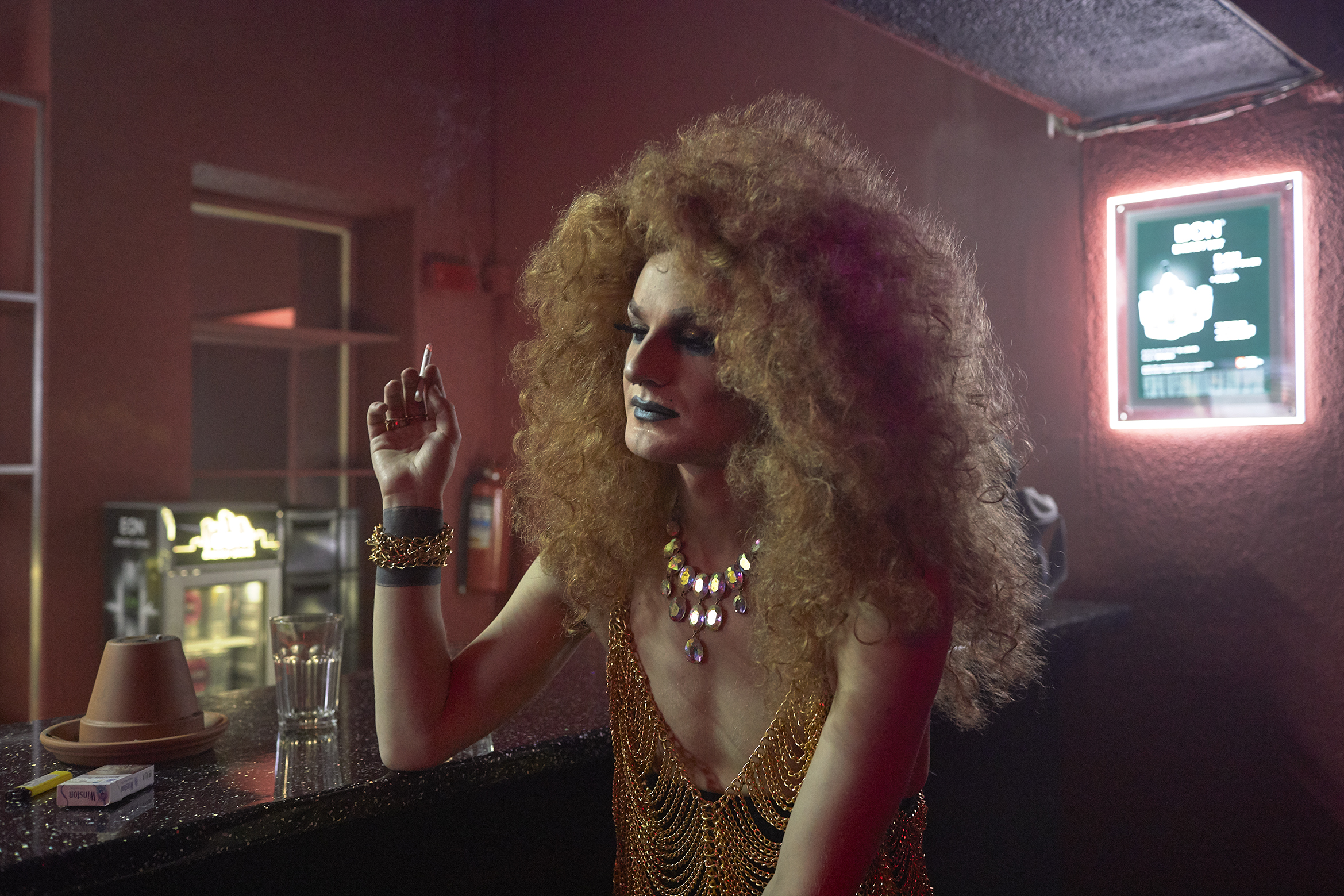 """Russia, Saint Petersburg, 30/05/2018. Miss Tekila smokes in the gay club """"Central Station SPB"""" after her performance. Alexandr Govorukhin (30) from Montschegorsk has lived in Saint Petersburg for 12 years already. He is a travesti actor (stage name is Miss Tekila) at the """"Central Station SPB"""" gay club, """"The Blue Oyster"""" gay bar and a makeup artist. Alexandr is openly gay."""