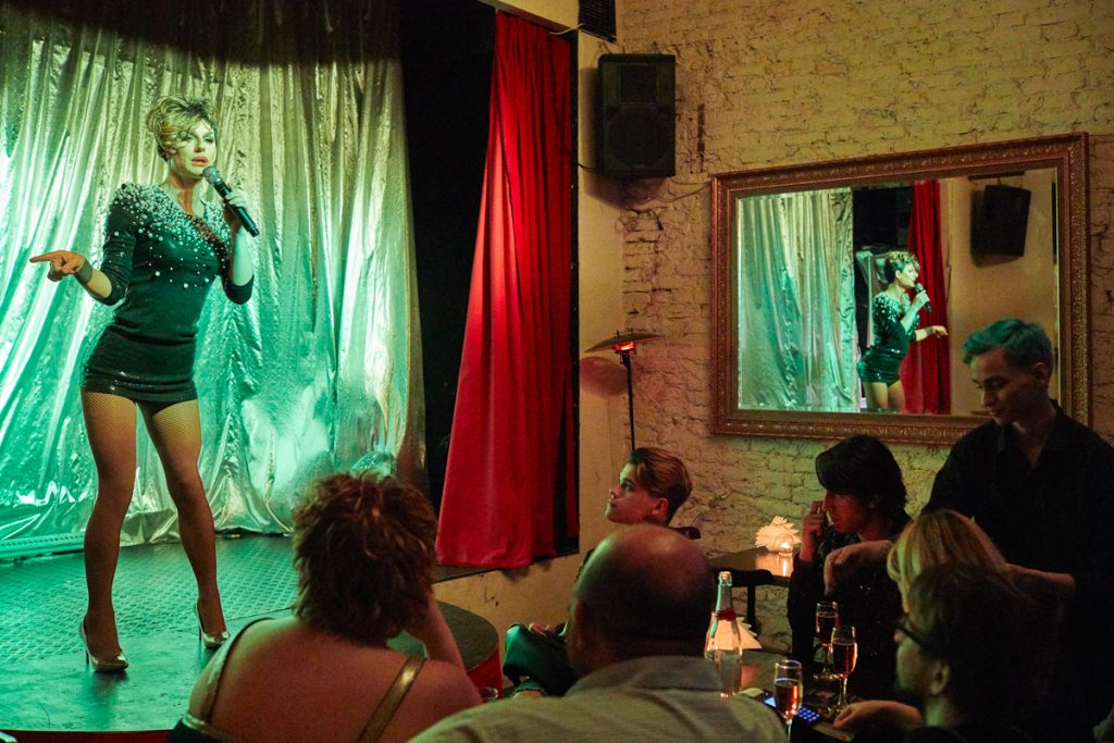 """Russia, Saint Petersburg, 28/05/2018. Miss Tekila on the stage in the gay club """"Central Station SPB"""". The travesti actors earn around 50 dollars for the night performance in the gay club """"Central Station SPB"""". Alexandr Govorukhin (30) from Montschegorsk lives in Saint Petersburg for 12 years already. He is a travesti actor (stage name Miss Tekila) at the """"Central Station SPB"""" gay club, """"The Blue Oyster"""" gay bar and a makeup artist. Alexandr is openly gay."""